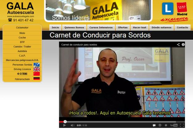 Una captura del vídeo de presentación de Autoescuelas Gala