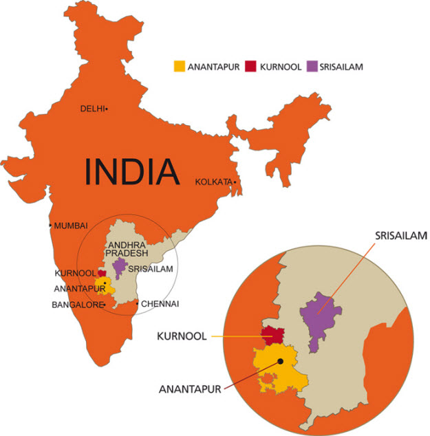 Mapa de la India y la región de Andhra Pradesh