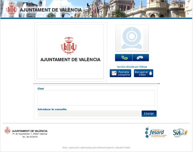 Captura de la aplicación que permite la videointerpretación